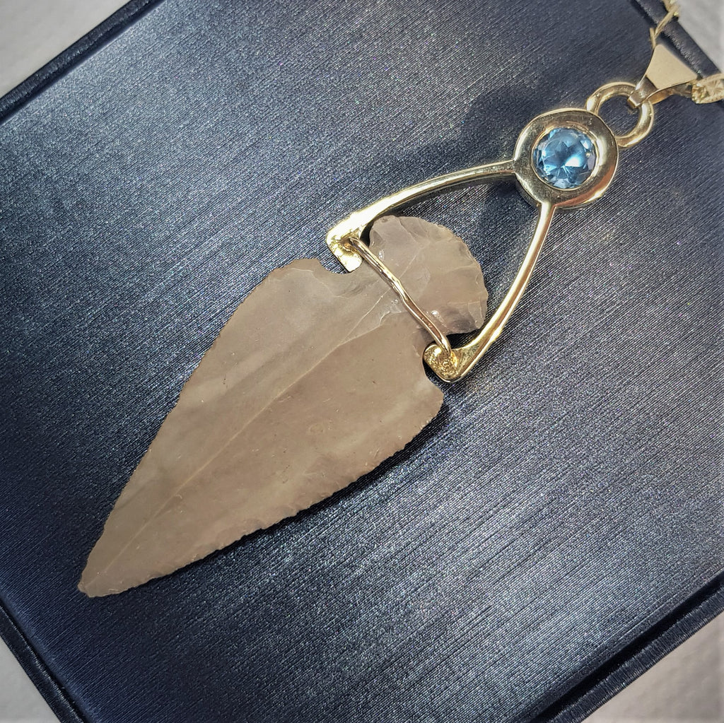 Canaan Bell | Boho Arrowhead Pendant, One Of a Kind 14k Pendant, Solitaire Blue Topaz Necklace, Precious Gift For Her