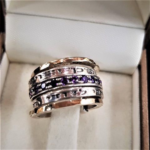 Carmit | Bible Blessing Ring,  Stackable Amethyst Raw Ring, Statement Inscribed Ring