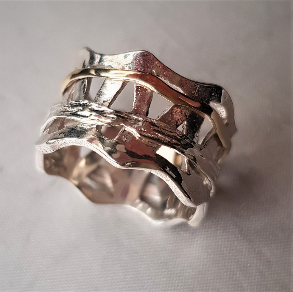 Ekva | Gold and Silver Spinner Band, Art Deco Statement Ring, Rustic Wedding Band. Textured Fashion Band
