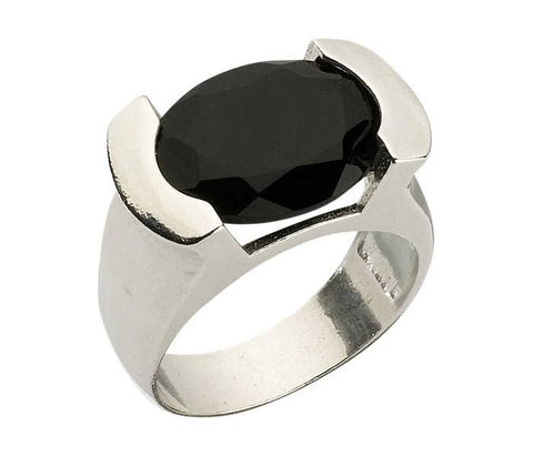 Encrypted Oval Ring Combined With Black Tourmaline (semi-precious Stone). Kabbalah Ring, Stone Ring, Kabbalah Jewelery, Kabbalah Protection