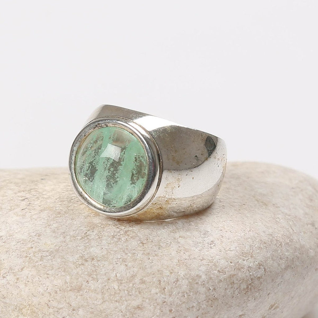 Encrypted Rings Combined With Semi-Precious Stone - Fluorite. Men's Ring, Inspirational, Ring Gift For Men, Spiritual Ring, Meditation Ring