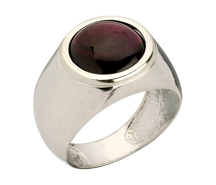 Encrypted Rings Combined With Semi - Precious Stones - Garnet. Men Ring, Inspirational Ring, Gift For Men ,Judaica Jewelry, Spiritual Ring