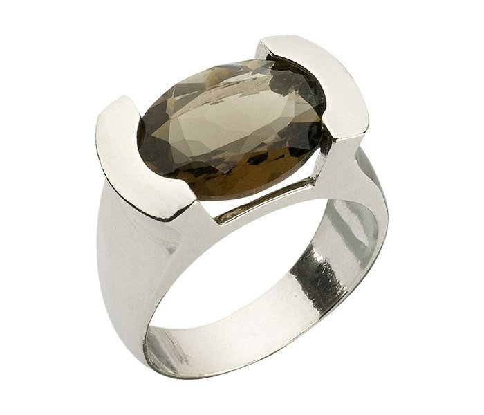 Encrypted Silver Oval Ring Combined With Semi - Precious Stones - Smoky Quartz. Jewish Ring, Kabbalah Ring, Kabbalah Jewelry, Spiritual Ring