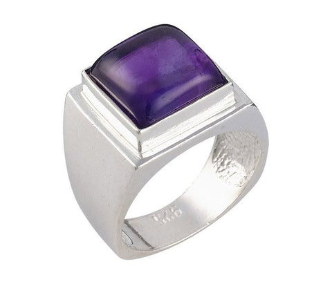 Encrypted Square Rings Combined With Semi - Precious Stones - Amethys. Inspirational Ring, Kabbalah Jewelry,Men's Rings,Judaica,Jewish Ring