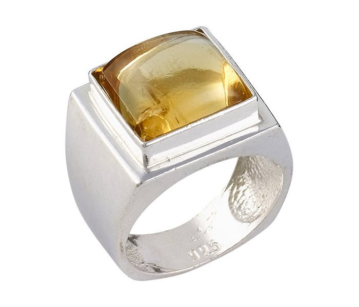 Encrypted Square Rings Combined With Semi - Precious Stones - Citrine, Jewish Ring, Kabbalah Ring ,Kabbalah Jewelry, Inscribed Ring, Judaica