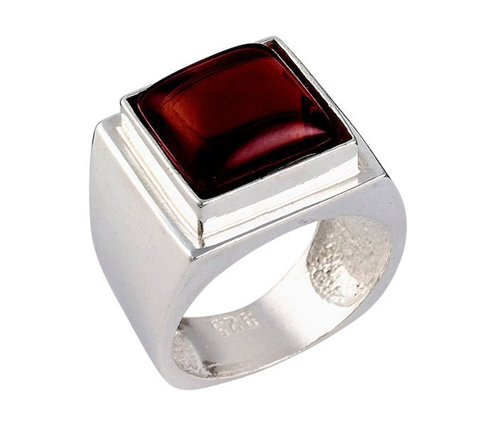 Natural Garnet Promise Solitaire Ring - Esther