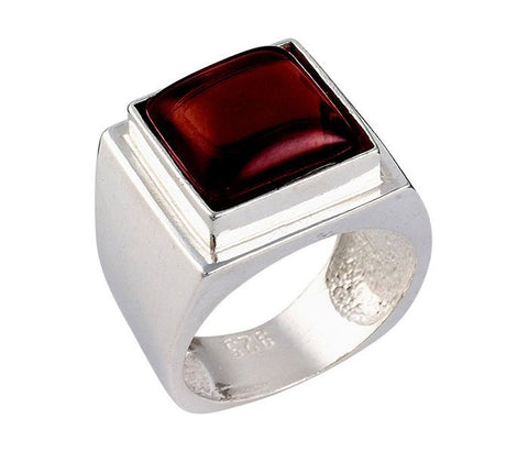 Encrypted Square Rings Combined With Semi - Precious Stones - Garnet, Judaica Jewelry, Stone Ring, Men's Rings, Jewish Ring, Gift For Man
