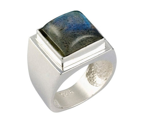 Encrypted Square Rings Combined With Semi - Precious Stones - Labradorite. Jewish Jewelry, Jewish Ring, Kabbalah Ring, Kabbalah Jewelry