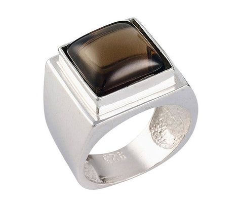 Encrypted Square Rings Combined With Semi - Precious Stones - Smoky Quartz, Gift For Men, Men's Rings, Inspirational Ring, Judaica Jewelry