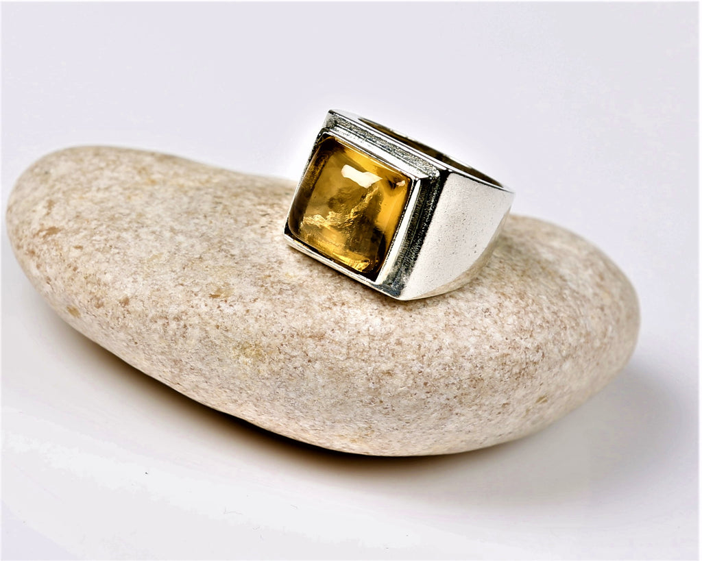 Ephrath | Solitaire Citrine Ring, Kabbalah Encrypted Square Ring, Jewish Statement Ring