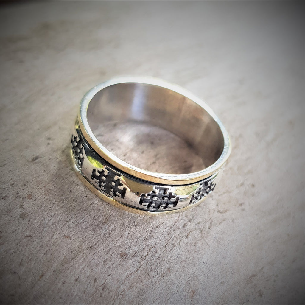 Jerusalem Cross Ring, Jesus Ring, Our Messiah Ring, Christian Faith Ring, Crusader Ring, Holy City Ring, Holy Land Ring, Gold and Silver Spin Ring, Israel Jewelry Designer, Crusader Statement Ring, Christian Personalized Ring, Handmade Ring