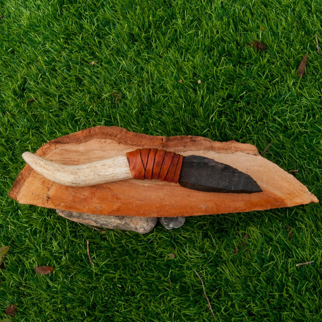 Flint Stone Knife, 003 Handmade, Ancient Style Knife With Deer Horn Handle, Handmade Knapping Knife, Birthday Gift, Gift For Man And Woman