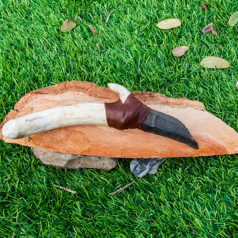Flint Stone Knife, 010 Handmade, Ancient Style Knife With Deer Horn Handle, Handmade Knapping Knife, Birthday Gift, Gift For Man And Woman