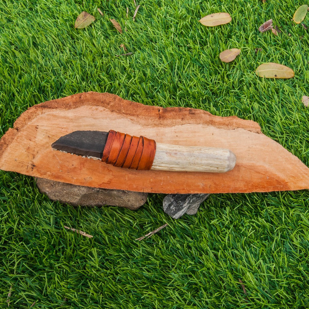 Flint Stone Knife, 011 Handmade, Ancient Style Knife With Deer Horn Handle, Handmade Knapping Knife, Birthday Gift, Gift For Man And Woman