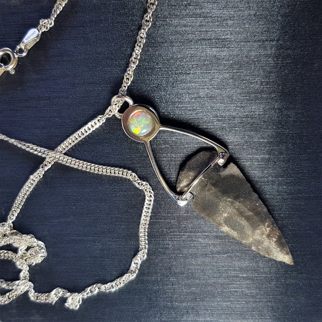 Flint Stone Pendant, One Of A Kind Pendant, Solitaire Arrowhead Necklace, Ancient Style Necklace, Australian Opal Pendant, Israeli Designers Necklace, Bohemian Necklace, Indian Chief Ornament, Worrior Pendant, Tribal Necklace, Neolithic Pendant