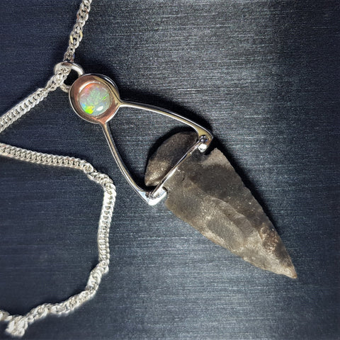 Galilee Bell | Australian Opal Necklace, Solitaire Boho Necklace, Arrowhead Pendant