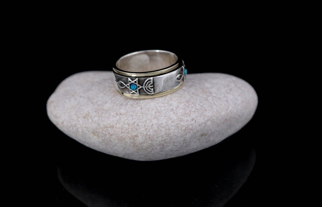 Gold & Silver Spinning Ring With Jewish Symbols: Star Of David, Menorah And Fish,Kabbalah Jewelry, Stacking Ring,gift Idea,opal Ring,Judaica