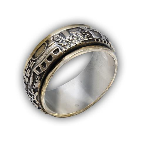 Thumb Spinner Ring, Hammered Initial Ring - Golden