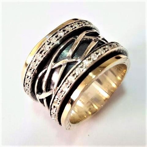 Heshvan | Zirconia Raw Ring, Gold & Silver Spin Band, December BirthstoneRing, Engagement Ornat Band