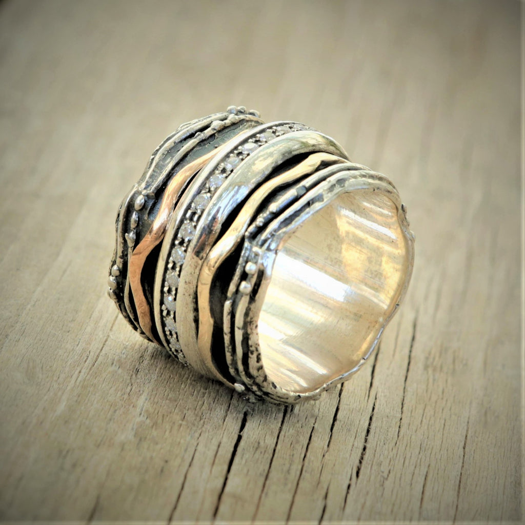 Rose Gold Ring, Raw Gemstone Ring - Ihud