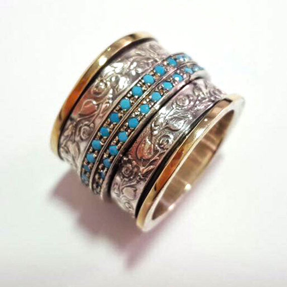 Hannah | Turquoise Raw Ring, Art Deco Multistone Ring, Hammerd Wide Ring, Ornat Spinner Ring Ring