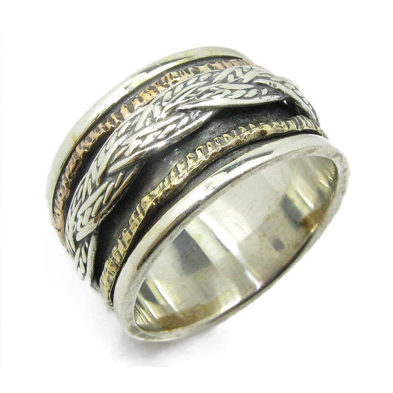 Gallil | Wedding Hammered, Art Deco Engagement Ring, Gold & Silver Ornat Band, Spinner Texture Name Ring
