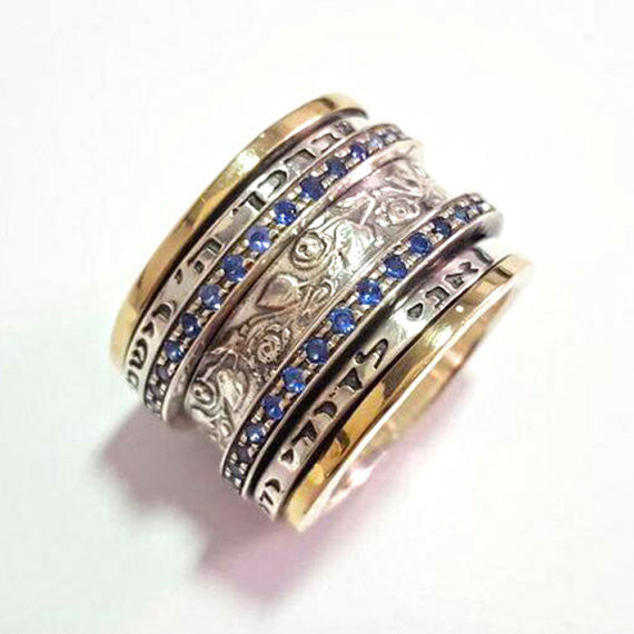 Blue Sapphire Row Ring - Iscah