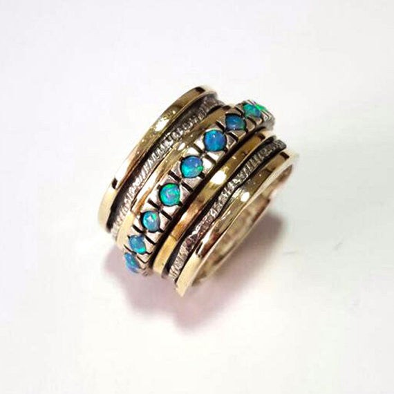 Neomi | Art Deco Blue Opal Ring, Gold & Silver Spin Band, April Birthstone Ring