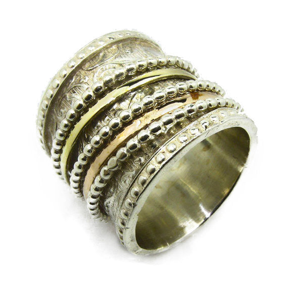 Carved Wedding Wide Band - Sitvanit