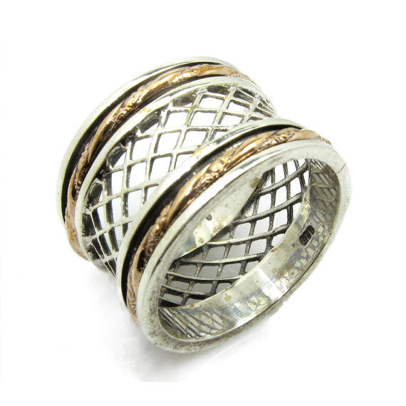 Hogla | Wedding Wide Band, Art Deco Fashion Ring, Gold & Silver Spinner Band, Ornat Boho Ring