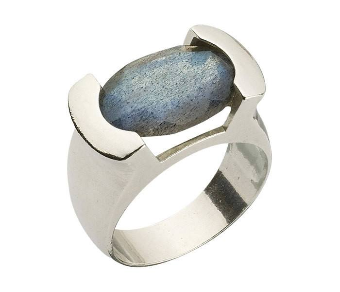 Inspirational Ring, Encrypted Silver Oval Ring Combined With Semi Precious Stones- Labradorite, Judaica Jewelry,Kabbalah Ring,Spiritual Ring