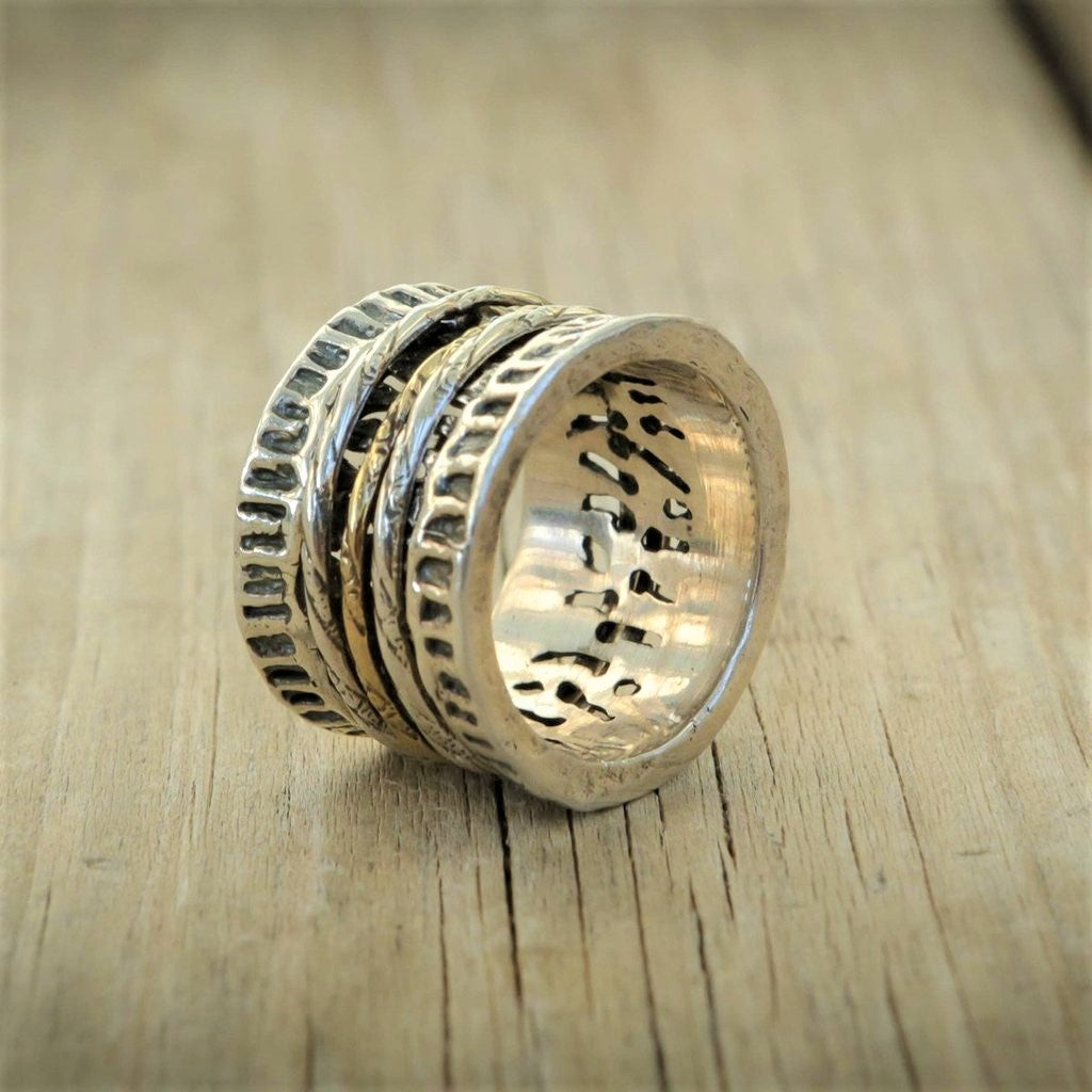 Hammered Gold Silver Spinner Ring - Jael
