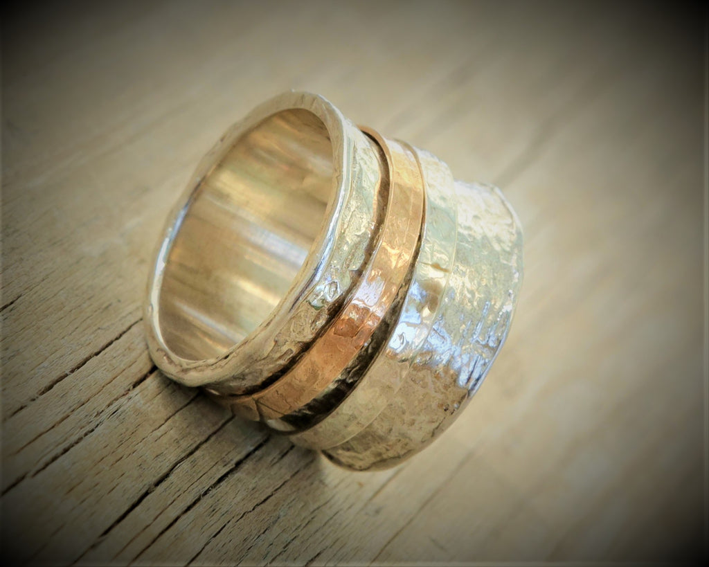 Rose Gold Engagement Ring Hammered Spinner Band - Jehosheba
