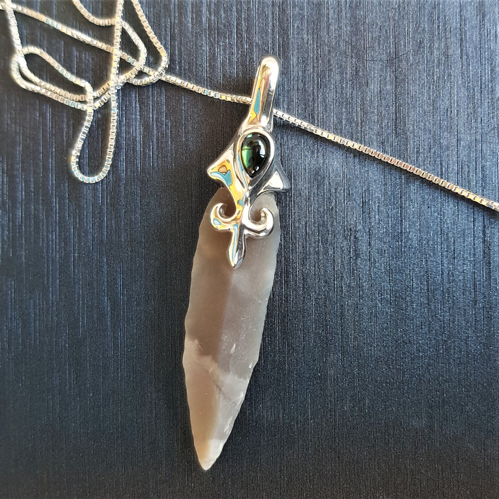 John Eye | Arrowhead Pendant, Boho Silver Necklace, Solitaire Tourmaline Necklace