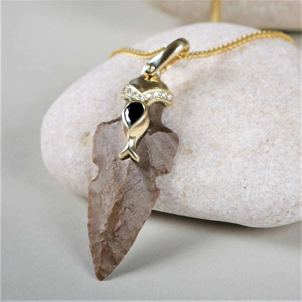 Jonah's Fish | Arrowhead Jemstone Pendant, Sapphire and Diamond Necklace, Boho Necklace