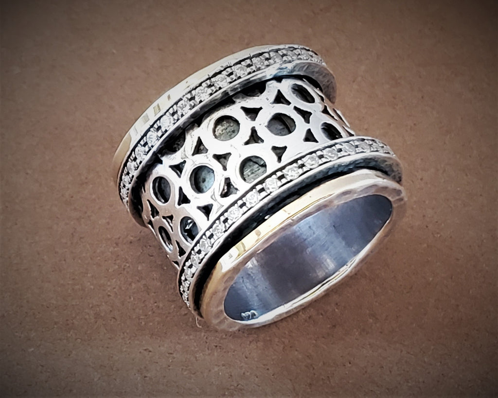 Hammered Wide Textured Spinner Ring - Julia