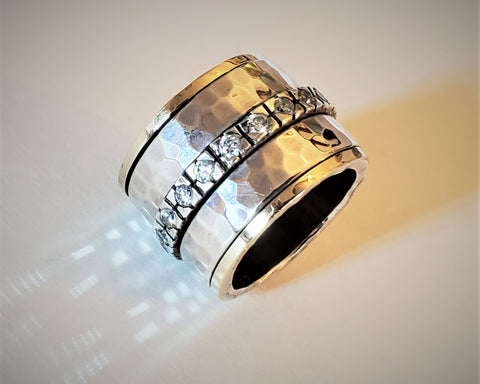 King | Hammered Textured Ring, Zirconia Raw Ring, Spinner Wide Ring