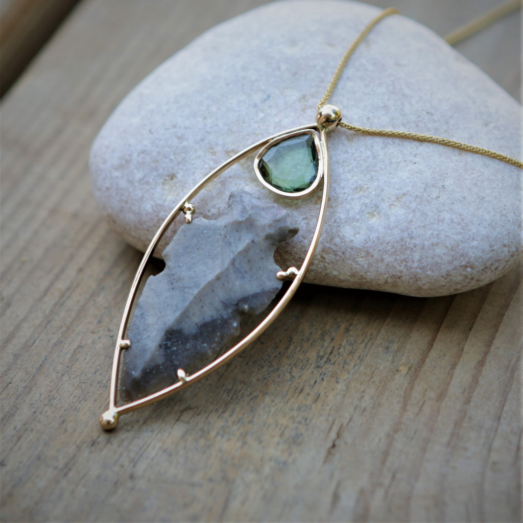 Laural Leaf | Arrowhead Precious Pendant, Solitaire Green Apatite Necklace