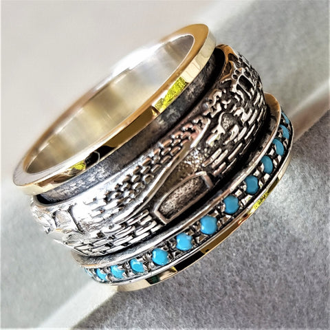 Matthew | Turquoise Raw Ring, Gold & Silver Spinner Band, Wedding Statement Ring