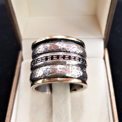Garnet Ring Gold Spinner Ring - Nurit