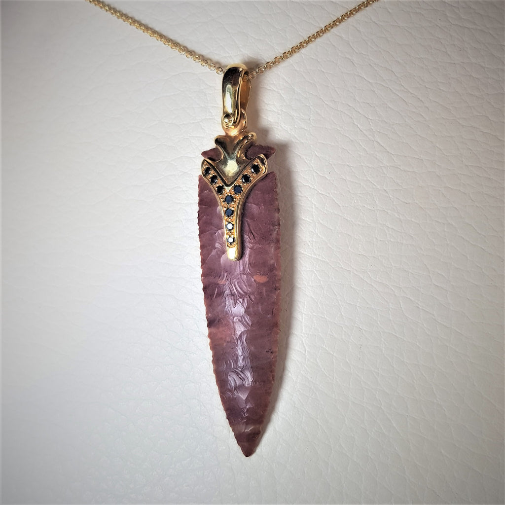 Ohio Flint | Artist's Designed Gold Necklace, One of A Kind Pendant,18K Gold Necklace