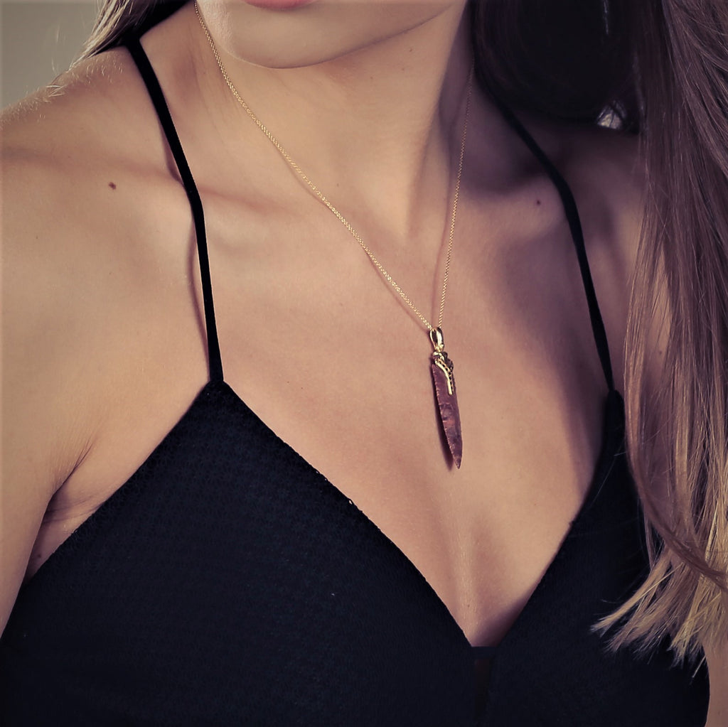 Obsidian Necklace, 18k Gold Necklace - Ohio