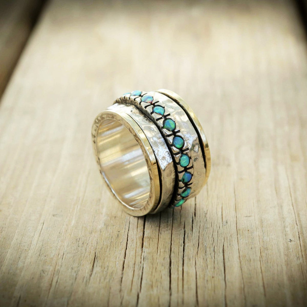 Opal Ring, Spin Ring, Gold And Sterling Silver Ring With Blue Opal Stones,Romantic Ring, Gift For Her, Israel Jewelry, Anniversary Gift