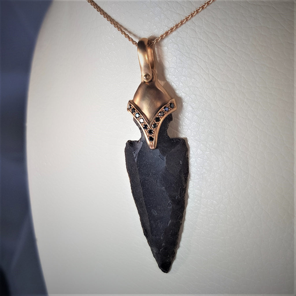 One of A Kind Precious Pendant, Arrowhead Flintstone Pendant, 18k Rose Gold Pendant, Ancient Style Jewelry, Black Diamonds Necklace, Boho Designed Pendant, Valuable Gift For Her, Tribal Chief Jewel, Worrior Ornament Necklace, Gypsy Hippie Necklace