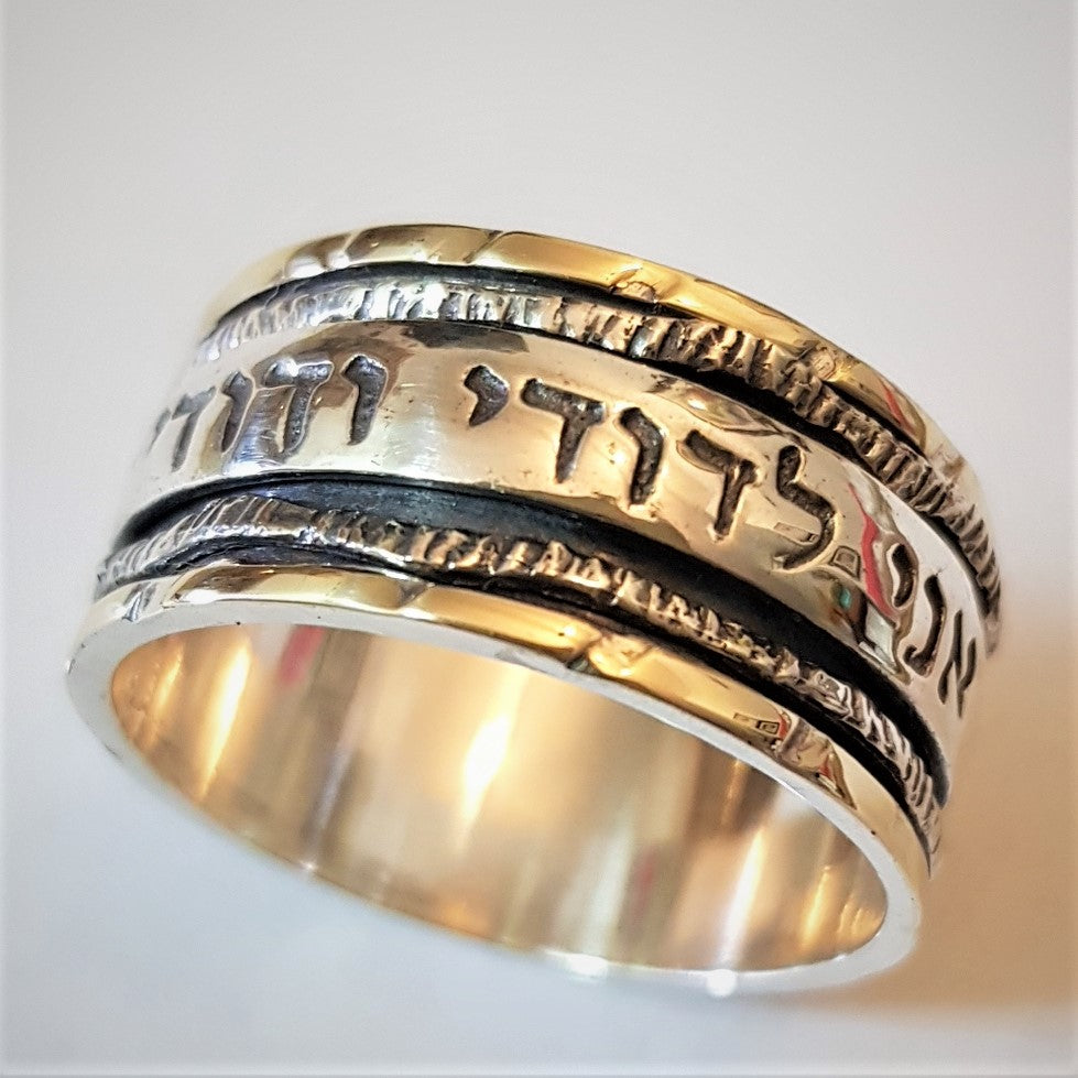 Rhoda | Bible Verse Ring, Hebrew Inscribed Ring, Gold & Silver Spinner Ring