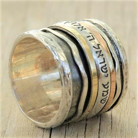 Sapphira | Biblical Verse Wide Band, Rose & Yellow Gold Spinner Ring, Art Deco Fashion Ring