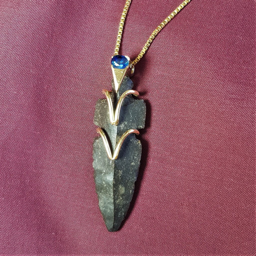 Precious Designer Neclace, Ancient Arrowhead Pendant, One of A Kind Boho Pendant, 14k Gold Pendant, Sapphire Solitaire Necklace, Zodiac Birthstone Necklace, American Indian Chief Jewl, Valuable Gift Fot Her, Worrior Ornament Jewel, Tribal Neolitic Pemdant