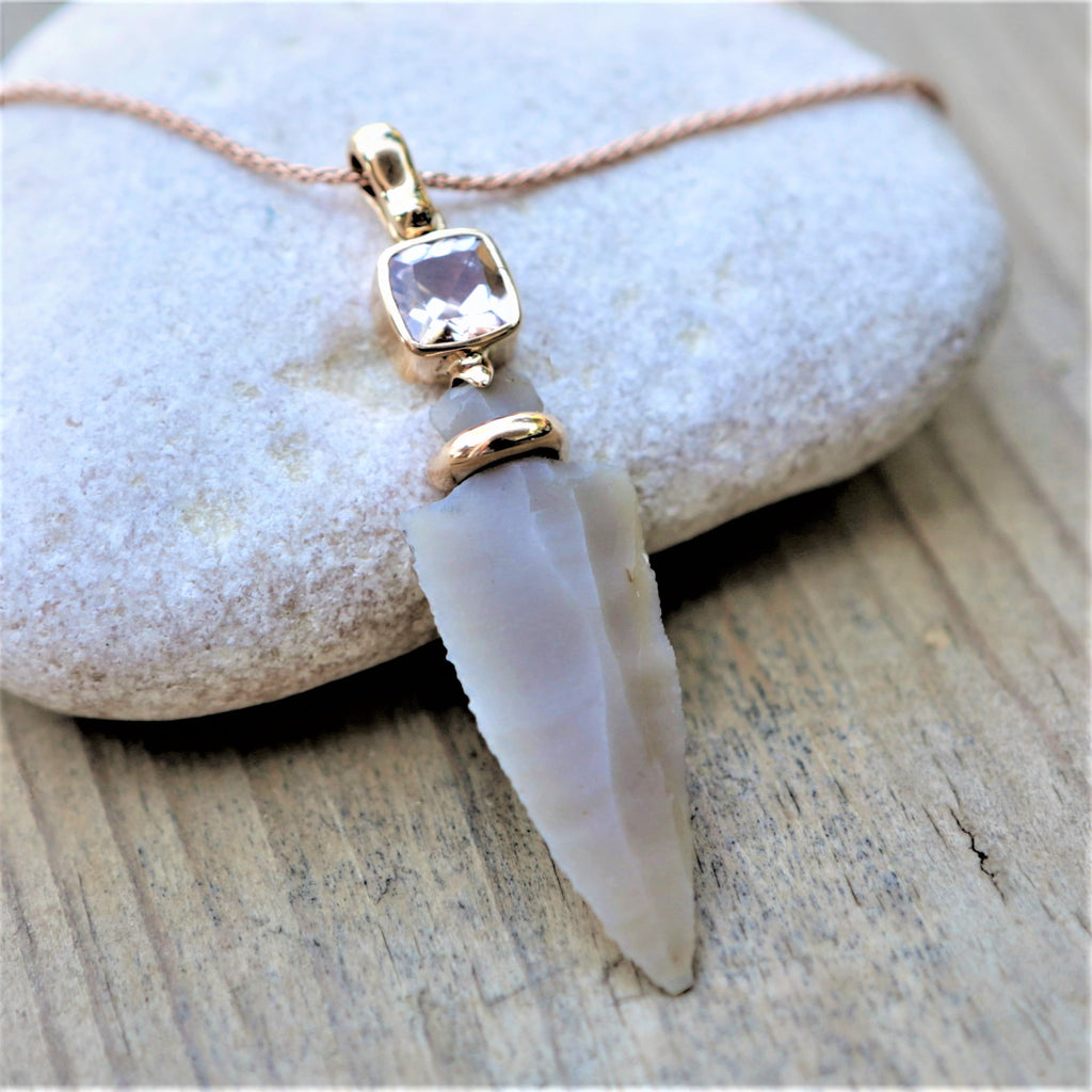 Sisra's Mother | Canaan Pendant, Amazing Pendants Designs, One of A Kind Pendant, Arrowhead Pendant, 14K Gold Pendants, Flint Stone, Cushion Stone Pendant, Ancient Stile Pendant, Israeli Designer Jewellry