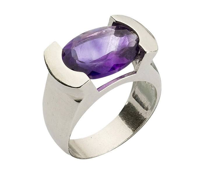 Sterling Silver Encrypted Oval Ring Combined With Semi - Precious Stones - Amethys. Spiritual Ring, Kabbalah Ring, Judaica Ring, Jewish Ring