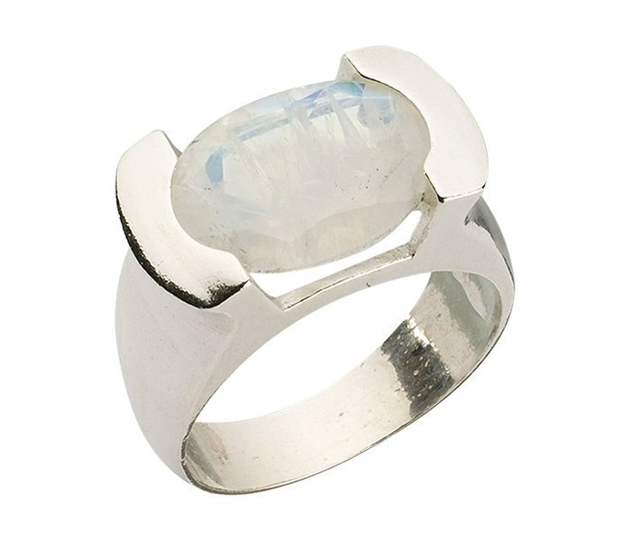 Sterling Silver Encrypted Oval Ring Combined With Semi - Precious Stones - Moonstone. Jewish Ring, Kabbalah Ring, Kabbalah Jewelry,spiritual